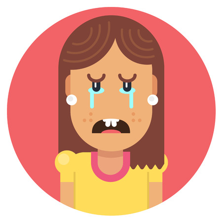 Girl with crooked teeth crying from frustration. Fully editable vector illustration of a flat style. Illustration