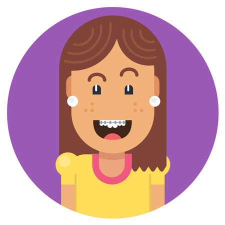 trouble free: Girl with braces on teeth laughing with joy. Fully editable vector illustration of a flat style. Illustration