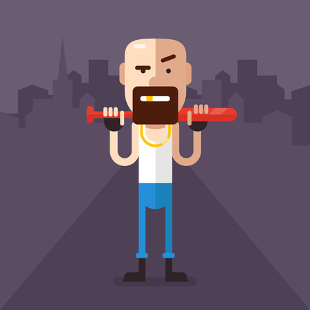skinhead: Skinheads robber with a bat in his hands in the middle of the night streets. In a white shirt, jeans, gold tooth. Fully editable vector illustration in flat style.