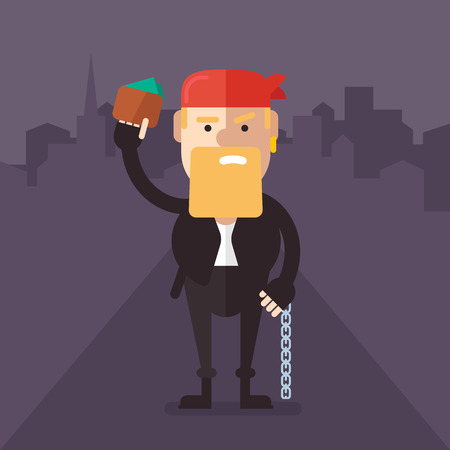 night suit: Biker-robber with a wallet and money and chain in the hands of the middle of the night streets. On the head bandana, in leather suit. Fully editable vector illustration in flat style. Illustration