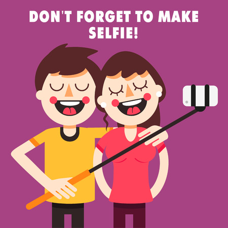happy young people: Couple taking selfie with selfie stick. Cartoon characters. Fully editable vector illustration. Illustration