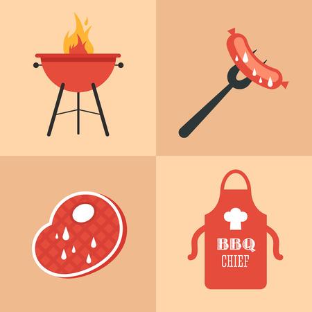 carne a la brasa: Un conjunto de iconos de la barbacoa en un estilo plano. Grill, salchicha en un tenedor, la carne a la parrilla, un delantal con un toque. Ilustraci�n vectorial completamente editable.