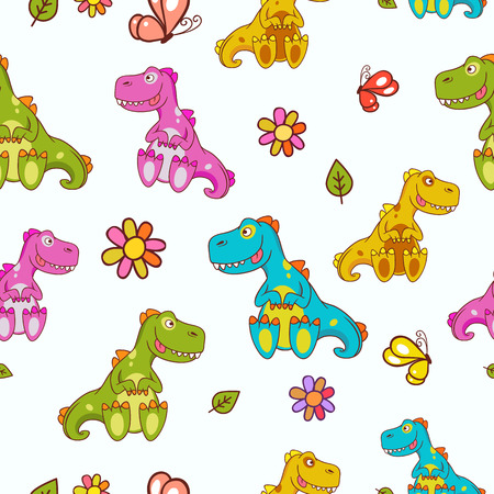 Seamless pattern with the image of different colored dinosaurs, decorated with the flowers, butterfly and leaves located on a white background. Fully editable hand drawn vector illustration. Ideal for childrens issues Vector