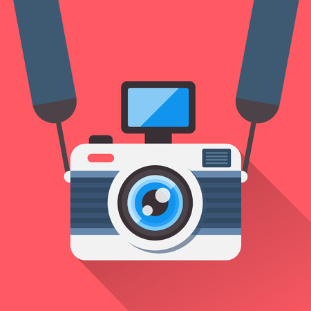 expert: Retro camera on a strap in a flat style. Camera image on a red background shading with a shadow. Fully editable vector illustration.