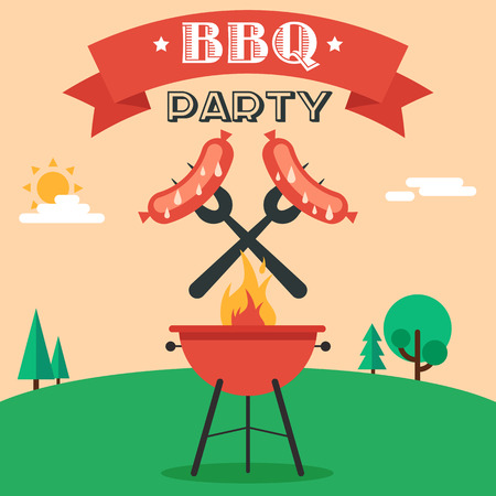 grill: Invitation card on the barbecue. Grilled sausages on forks on the background of the natural landscape. Illustration in a flat style. Fully editable vector.