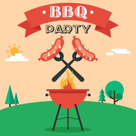 de zomer: Uitnodiging kaart op de barbecue. Gegrilde worstjes op vorken op de achtergrond van het natuurlijke landschap. Illustratie in een vlakke stijl. Volledig bewerkbare vector. Stock Illustratie