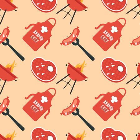 carne a la brasa: Un modelo incons�til de los iconos de la barbacoa en un estilo plano. Grill, salchicha en un tenedor, la carne a la parrilla, un delantal con un toque. Ilustraci�n vectorial completamente editable.