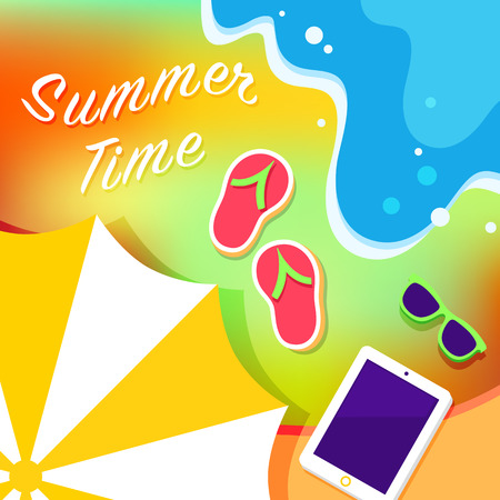 ocean view: Invitation summer card with a sea view and cut of a beach rounded with an ocean wave. There are umbrella, beach slippers, fashion sunglasses on a sand and tablet on a towel