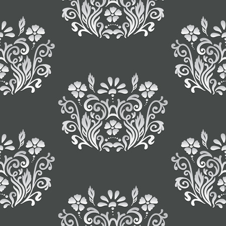 ideally: Oriental ornament with native floral elements. Seamless pattern of white decoration on a dark background. Fully editable vector. Ideally suited for textile or ceramic industry. Illustration