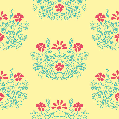 ideally: Oriental ornament with native floral elements. Seamless pattern of flower decoration on a yellow background. Fully editable vector. Ideally suited for textile or ceramic industry. Illustration
