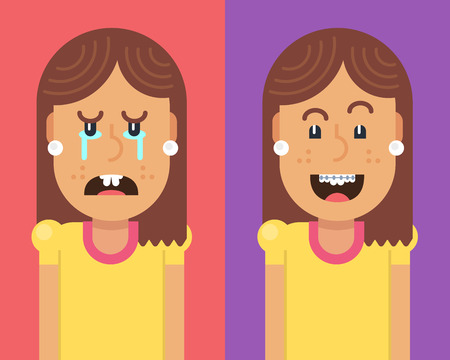 Two characters: a girl with crooked teeth crying, and girl with braces on teeth laughing with happiness. Fully editable vector illustration of a flat style. Illustration
