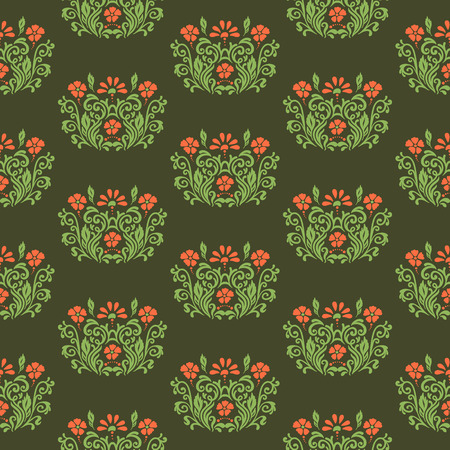 ideally: Oriental ornament with native floral elements. Seamless pattern of flower decoration on a dark background. Fully editable vector. Ideally suited for textile or ceramic industry.