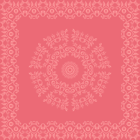 ideally: Card with the lace elements in an oriental ornament. Fully editable vector illustration. Ideally suited for textile, ceramic industry or  stationery. Illustration