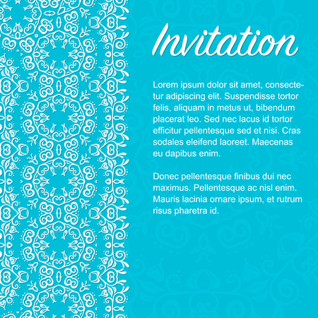 ard: Invitation сard with the lace elements in an oriental ornament. Fully editable vector illustration. Ideally suited for textile, ceramic industry or  stationery.