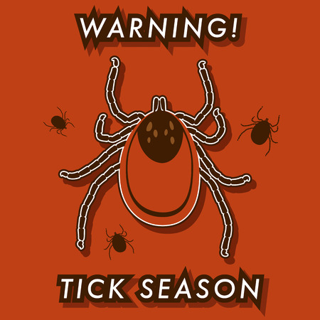 The tick's season warning card. Fully editable vector illustration. Perfect for warning label. Vector
