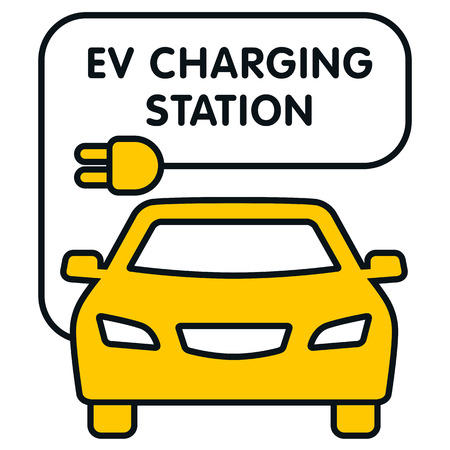 EV Charging Station signboard with the electro car illustration. Fully editable vector illustration. Perfect for signboards and plates.