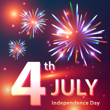 Independence Day card image with fireworks and patriotic text. Perfect use for post cards, greetings. Fully editable vector illustration.