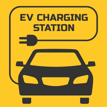 electro: EV Charging Station signboard with the electro car illustration. Fully editable vector illustration. Perfect for signboards and plates.