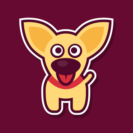 The little yellow puppy with protruding tongue and collar on a burgundy background. Fully editable vector illustration. Ideal to use as a print on a t-shirt or for children themes.