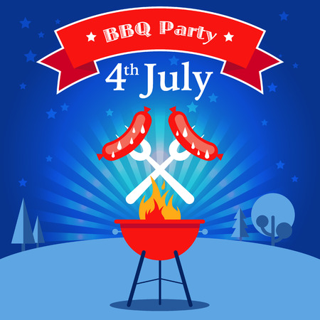 flyer party: Invitation card to the barbecue party. Grilled sausages on the forks on the background of the natural night landscape. Illustration in a flat style. Fully editable vector. Illustration