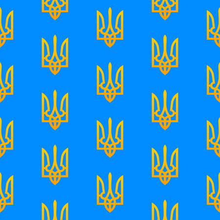 ukranian: National Ukranian seamless pattern with the golden tridents emblem on a blue background. Fully editable vector illustration. Perfect for wallpapers, phone cases, etc.