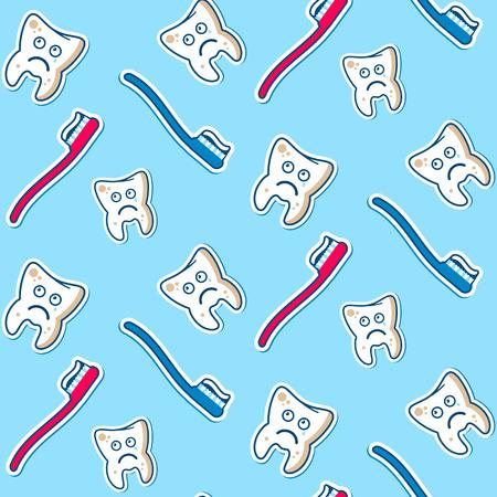 dientes sucios: Modelo inconsútil del vector con los toothbrashes sucios dientes enfermos, azul y rojo sobre un fondo de cielo. Ilustración completamente editable. Perfecto para los niños ilustraciones, patrones, imágenes, etc.