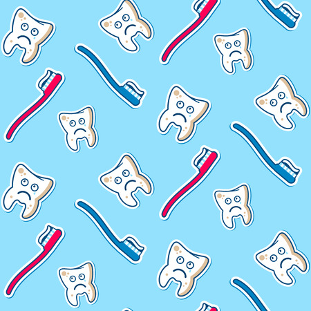 dirty teeth: Seamless vector pattern with the dirty ill teeth, blue and red toothbrashes on a sky background. Fully editable illustration. Perfect for children illustrations, patterns, images etc. Illustration