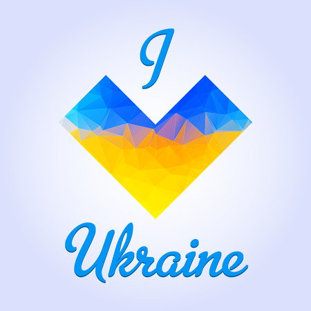 ministry: Ukranian patriotic heart emblem that colored in a national flag colores in a triangle manner with love text. Fully editable vector image. Perfect phone cases, prints on t-shirts, posters, etc.