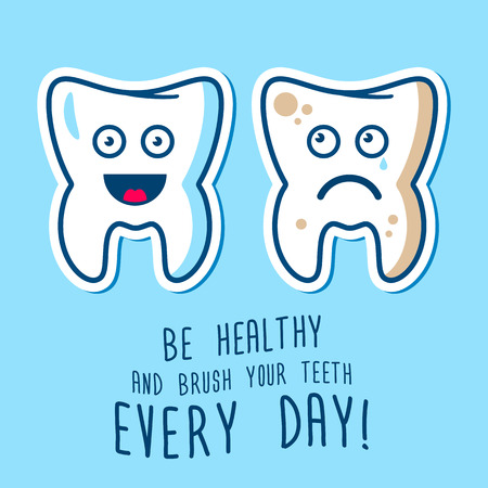 tooth cartoon: Vector illustration of the dirty ill and jpy healthy  teeth, blue and red toothbrashes on a sky background. Fully editable illustration. Perfect for children illustrations, medcine care, images etc.