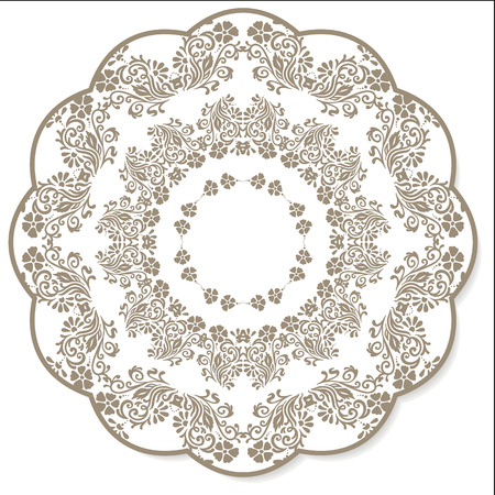 textile industry: Lace flower round napkin grey colored on a white background. Perfect use for textile industry, backgrounds, greeting cards, etc. Fully editable vector. Illustration