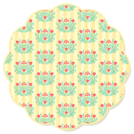 textile industry: Retro flower round napkin green colored on a yellow striped background. Perfect use for textile industry, backgrounds, greeting cards, etc. Fully editable vector. Illustration