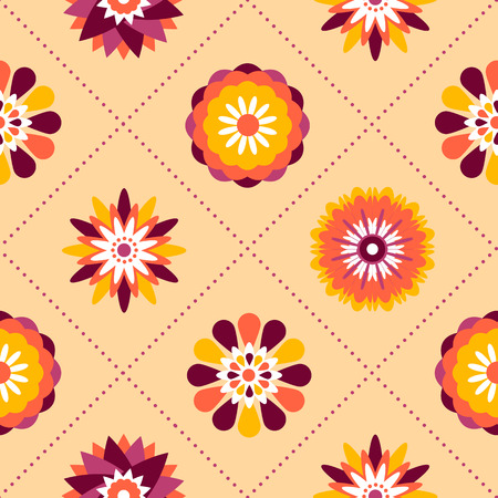 pastel backgrounds: Seamless retro pattern of different colored summer flowers on a pastel background. Perfect use for textile, paper manufacturing, backgrounds, etc. Illustration