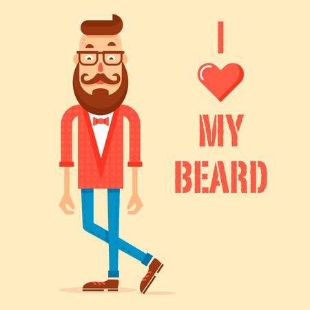 prin: Chico inconformista moderna con una gran barba y el bigote y el amor de texto barba. Ilustración vectorial completamente editable. Trajes Ideal para la camiseta prin, placas de información, cartas, etc.
