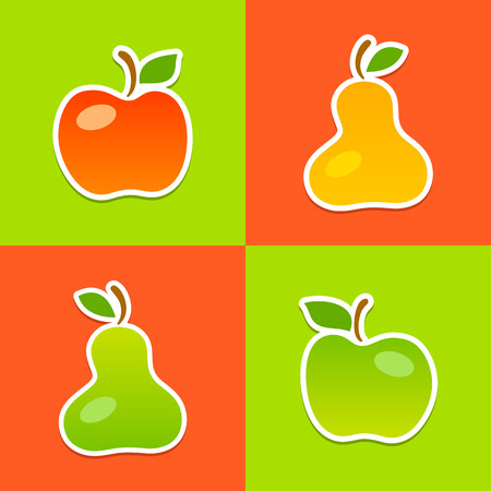 mellow: Art illustration made from four mellow fruits: apples and pears. Fully editable vector illustration. Perfect for textile, background, wallpaper use. Illustration