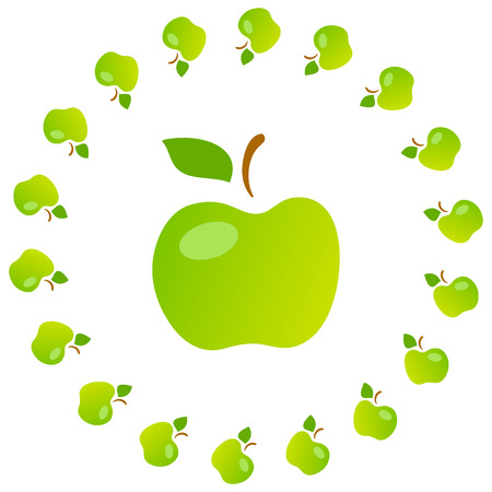 mellow: Bright art illustration of green mellow apples. Fully editable vector illustration. Perfect for textile, background, wallpaper use.