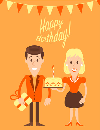 illustraition: Happy couple retro art illustration on a first birthday celebration. Fully editable vector illustraition. Perfect use for greetings cards, posters, etc. Illustration
