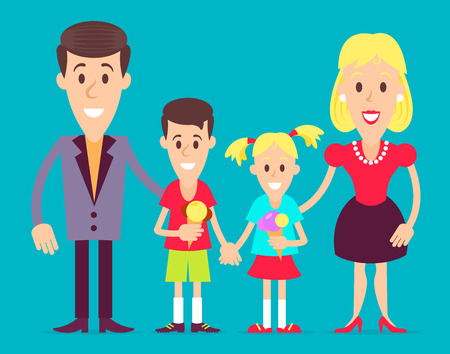 Happy family, mom, dad, son and younger daughter meets together art illustration. Fully editable vector illustraition. Perfect use for greetings cards, posters, plates, etc.