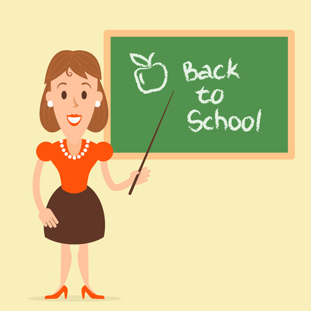 welcomed: Flat illustration of a teacher near the board welcomed the students. Fully editable vector illustration. Perfect use for web design, informational plates, cards, posters, etc.