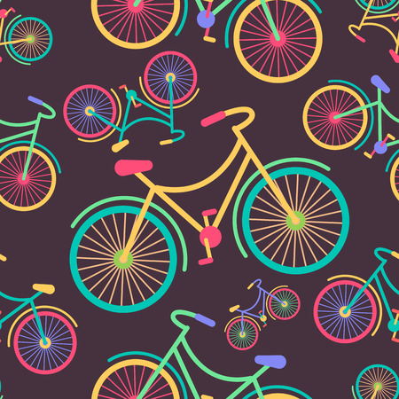 Seamless pattern of retro hipster stylied bycicle placed on a colored background. Fully editable vector illustration. Perfect use for textile, images, cards, post cards, etc.