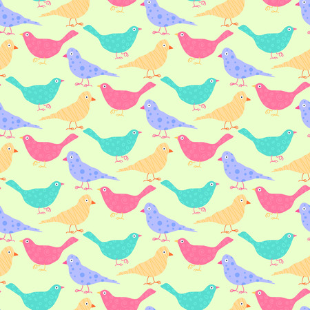 textile industry: Seamless pattern of different colored wild birds. Fully editable vector illustration. Perfect use for backgrounds, textile industry. Illustration