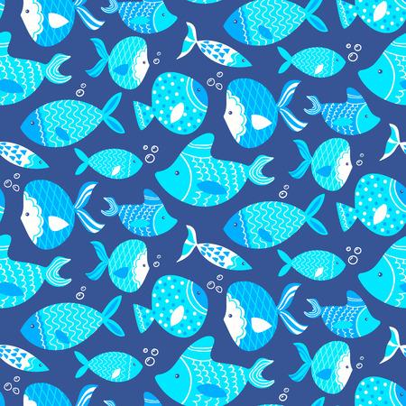 Seamless pattern de différents types de poissons de mer dessiné à la main. Illustration entièrement modifiable. L'utilisation parfaite pour les papiers peints, industrie textile Banque d'images - 42034524