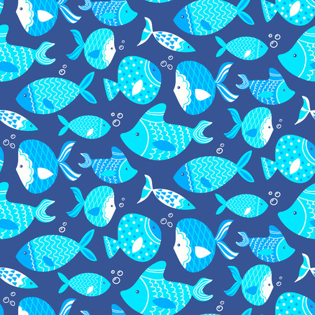 textile industry: Seamless pattern of different kind sea fishes hand drawn. Fully editable illustration. Perfect use for wallpapers, textile industry