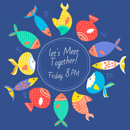 fully editable: Invitation card with multicolored sea fishes met in a curcus hand drawn on a blue texture background. Fully editable vector illustration. Perfect use for cards and greetings.