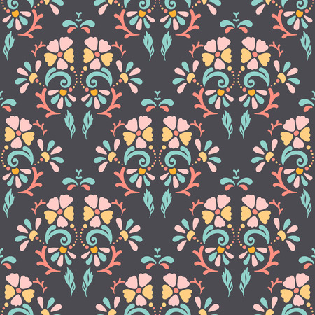 pastel backgrounds: Seamless retro pattern of different colored summer flowers on a dark pastel background. Perfect use for textile, paper manufacturing, backgrounds, etc. Fully editable vector illustration
