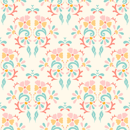 pastel backgrounds: Seamless retro pattern of different colored summer flowers on a pastel background. Perfect use for textile, paper manufacturing, backgrounds, etc. Fully editable vector illustration Illustration