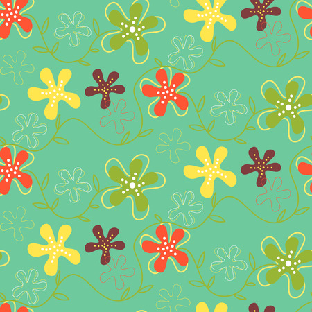 textile industry: Seamless pattern of fantastic hand drawn summer flowers. Fully editable vector illustration. Perfect use foe wallpapers, textile industry.