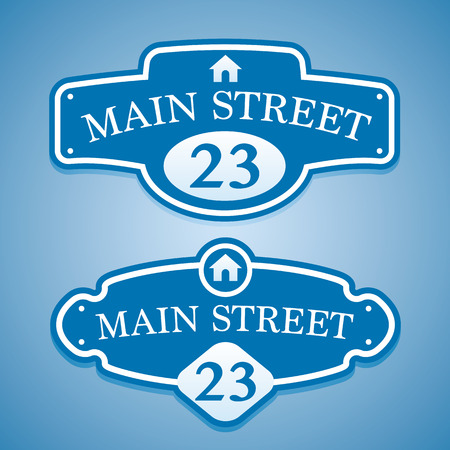 Vintage styled house nameplate on a gradient blue background. Fully editable vector illustration. Perfect for house, flats and appartments signs. Vettoriali
