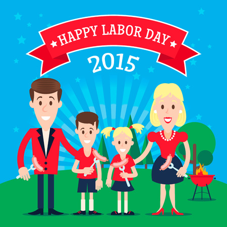 Invitation card with the happy family celebrating the labor day. Illustration in a flat style. Fully editable vector.