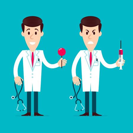medico caricatura: Celebración de dibujos animados Dos médicos enojado y amigable en su manos el estetoscopio y jeringa sobre un fondo azul. Ilustración vectorial completamente editable. Perfecto para tarjetas informativas, carteles, volantes.