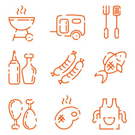 carne a la brasa: Un conjunto de iconos de la barbacoa en un estilo de l�nea. Grill, salchicha en un tenedor, la carne a la parrilla, un delantal con un toque, pescado, aceite, ketcup y mostaza. Ilustraci�n vectorial completamente editable.